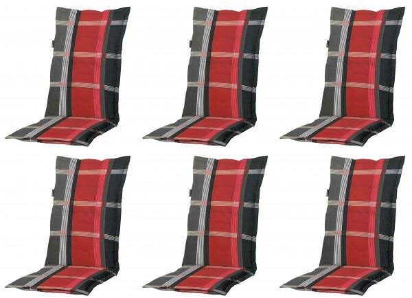 6x B253 Hochlehner Gartenstuhl Auflagen 120x50x8cm rot kariert