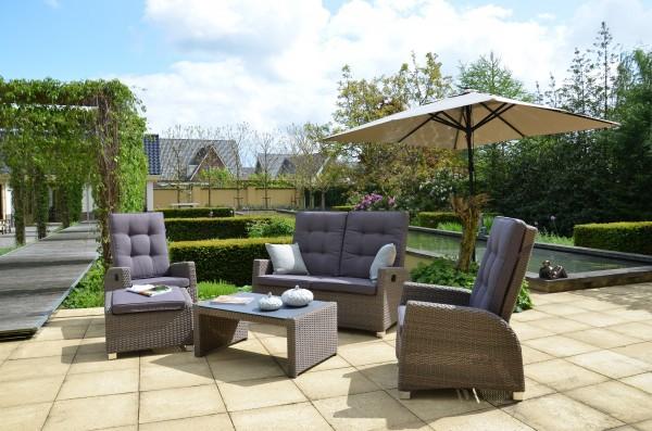 SOHO Polyrattan Lounge Gartenmöbel Sitzgruppe - taupe