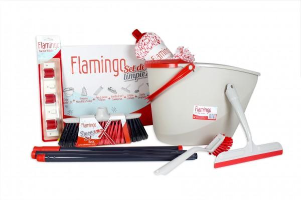 FLAMINGO XL Putz Komplett Set mit Eimer, Wischmop und Besen
