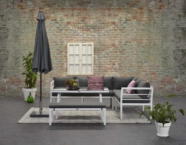 BLAKES Alu Ecklounge Gartenmöbel Sitzgruppe rechts weiß