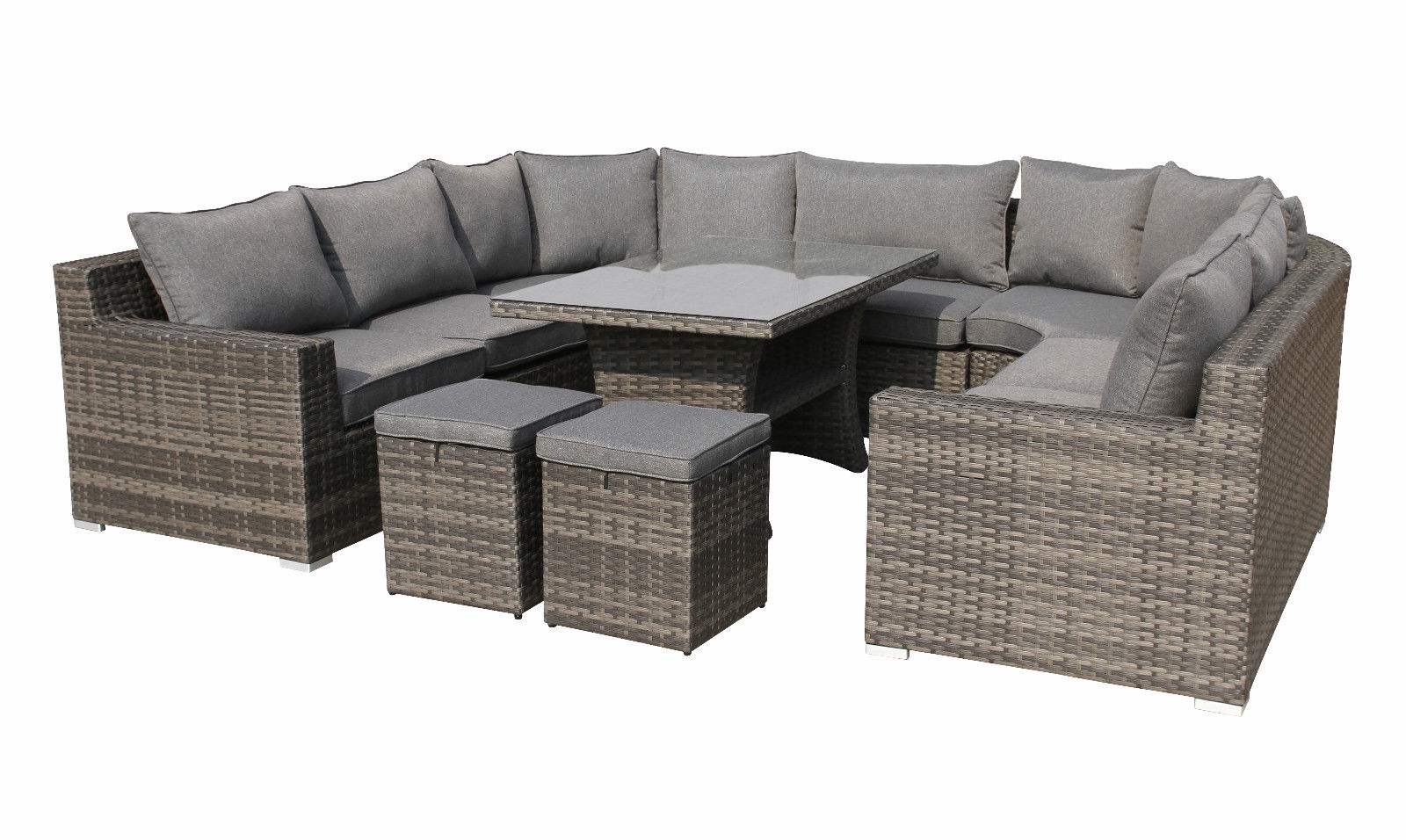 EPIC XXL Lounge Polyrattan Garten U-Lounge Set grau | Lounge-Möbel ...