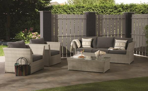 Garten lounge möbel grau  TUNIS XXL Polyrattan Lounge Gartenmöbel Sitzgruppe grau-braun ...