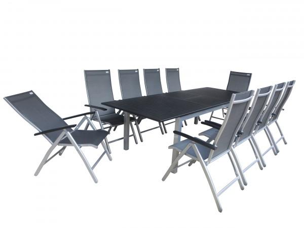 PALU Alu Gartenmöbel Set Sitzgarnitur, 11tlg, silber / schwarz