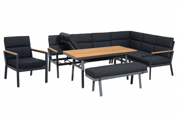 NARA XL Ecklounge Gartenmöbel Sitzgruppe Holzoptik rechts