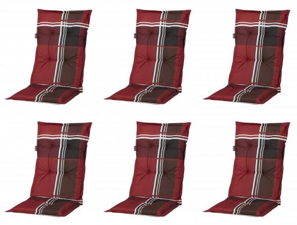6x A023 Hochlehner Gartenstuhl Auflagen 120x50x8cm rot kariert