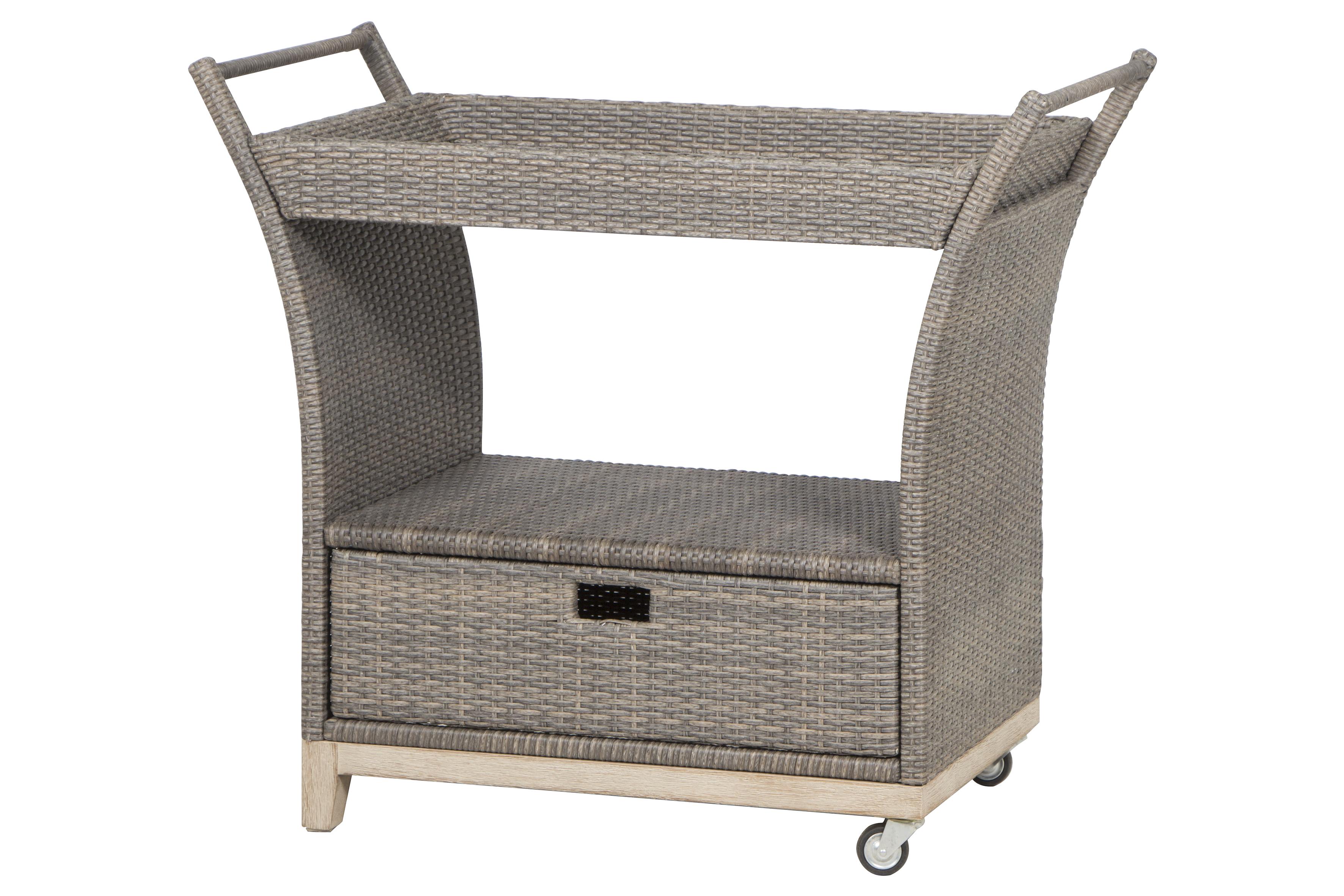 servierwagen mit rollen polyrattan teewagen alu k chenwagen. Black Bedroom Furniture Sets. Home Design Ideas