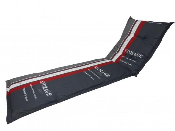 G148 Rollliegenauflage Gartenliege 190x60x8cm grau Streifen