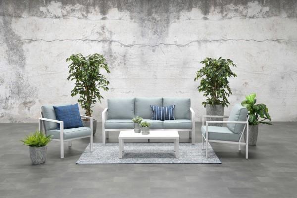 SPRINGS Aluminium Lounge Set Gartenmöbel Sitzgruppe weiss
