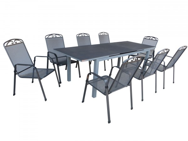 NELSON Alu Sitzgruppe Gartenmöbel Set, 9tlg - anthrazit / silber ...