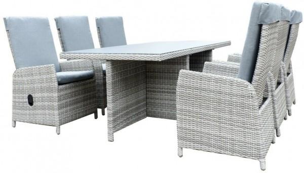 VISBY Polyrattan Gartenmöbel Lounge Set Sitzgarnitur - grau