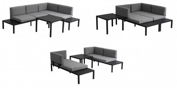 FANO 3 in 1 Aluminium Ecklounge Gartenmöbel Sitzgruppe grau