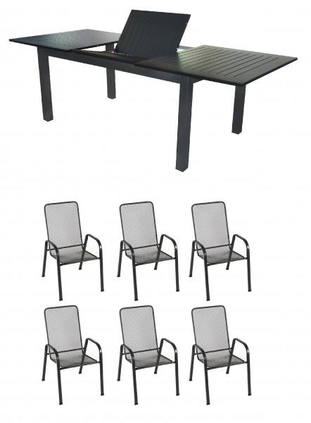 KUTA Alu Gartenmöbel Set Sitzgarnitur, 7-tlg, anthrazit / schwarz