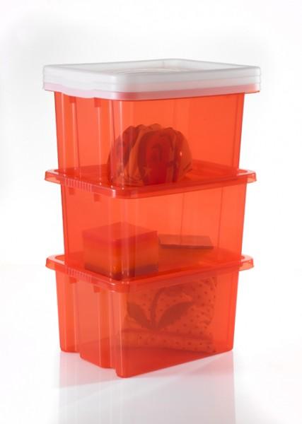 3 Stapelboxen 42,5x33x23,5cm transparent