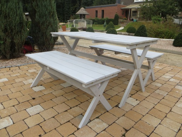 "LIFESTYLE Holz Gartenmöbel Set aus Akazienholz - ""whitewash"""