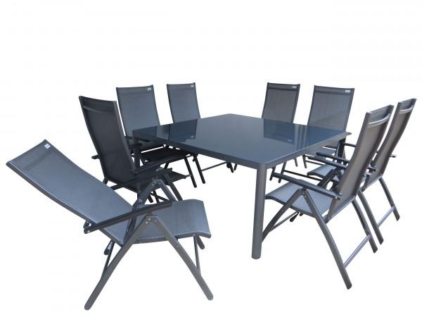 PIURA Alu Gartenmöbel Set Sitzgarnitur, 9tlg, anthrazit