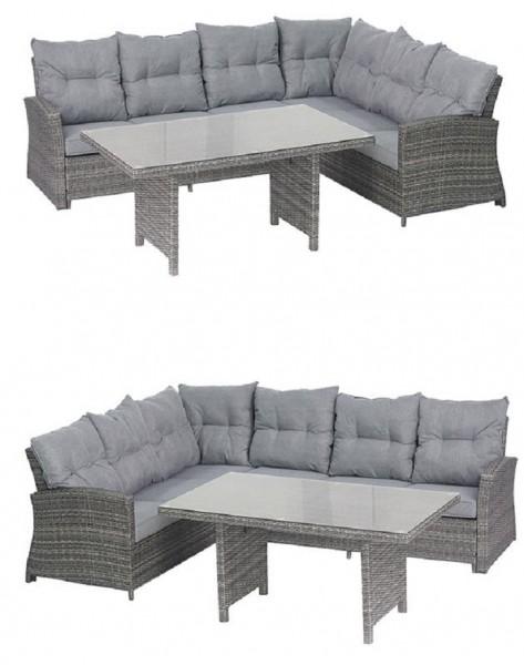 TANGO Polyrattan Ecklounge Garten Sitzgruppe grau | Lounge-Möbel ...