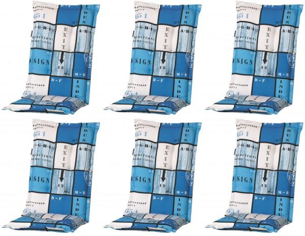 6x A033 Hochlehner Gartenstuhl Auflagen 120x50x8cm blau kariert