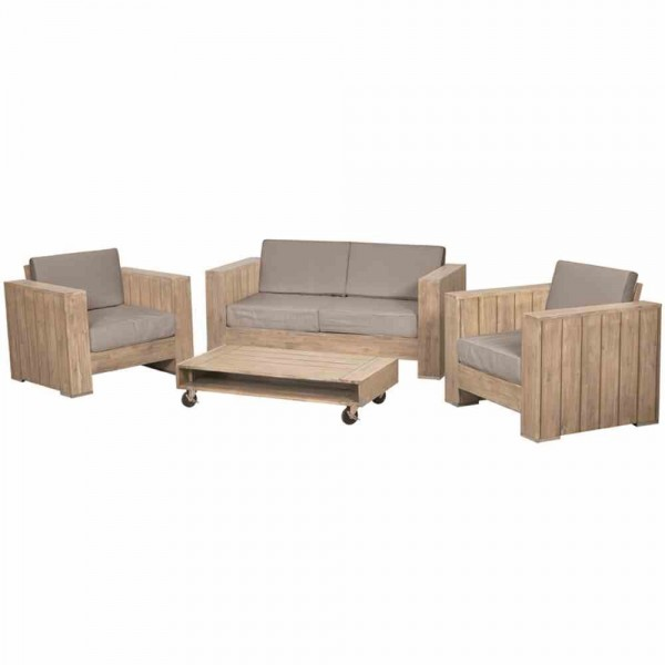 HALMSTAD Holz Lounge Gartenmöbel Sitzgruppe Bauholz-Optik | Lounge ...