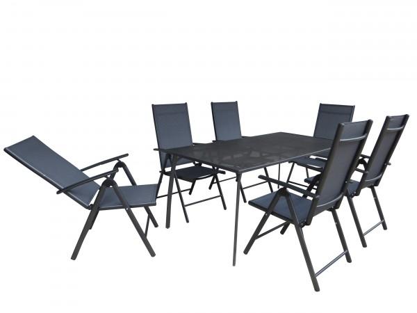 BANDUNG Streckmetall Gartenmöbel Set 180x90cm 7-tlg anthrazit