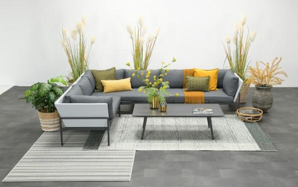 MAUMEE Alu Ecklounge Gartenmöbel Sitzgruppe links grau