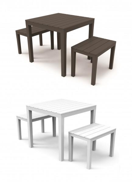 PAPUA Kunststoff Gartenmöbel Set Holz-Optik 3tlg Sitzgarnitur