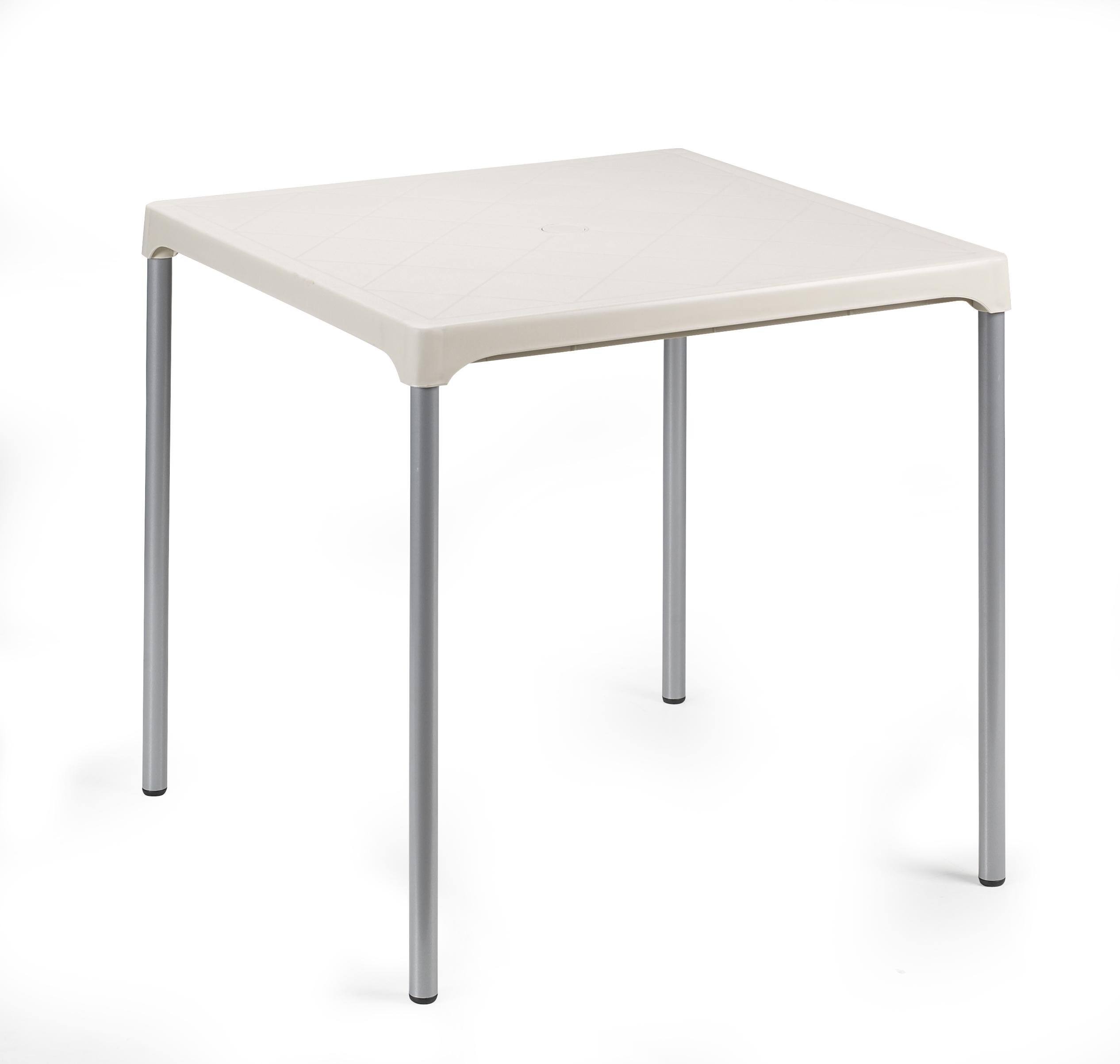 Ermes Alu Gartentisch 75x75cm Mit Kunststoffplatte Weiss