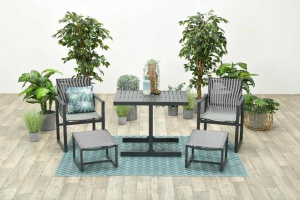 ALABAMA Alu Lounge Gartenmöbel Balkonset grau