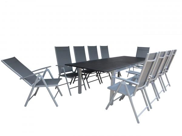 SERANG Alu Gartenmöbel Set Sitzgarnitur,11tlg, silber