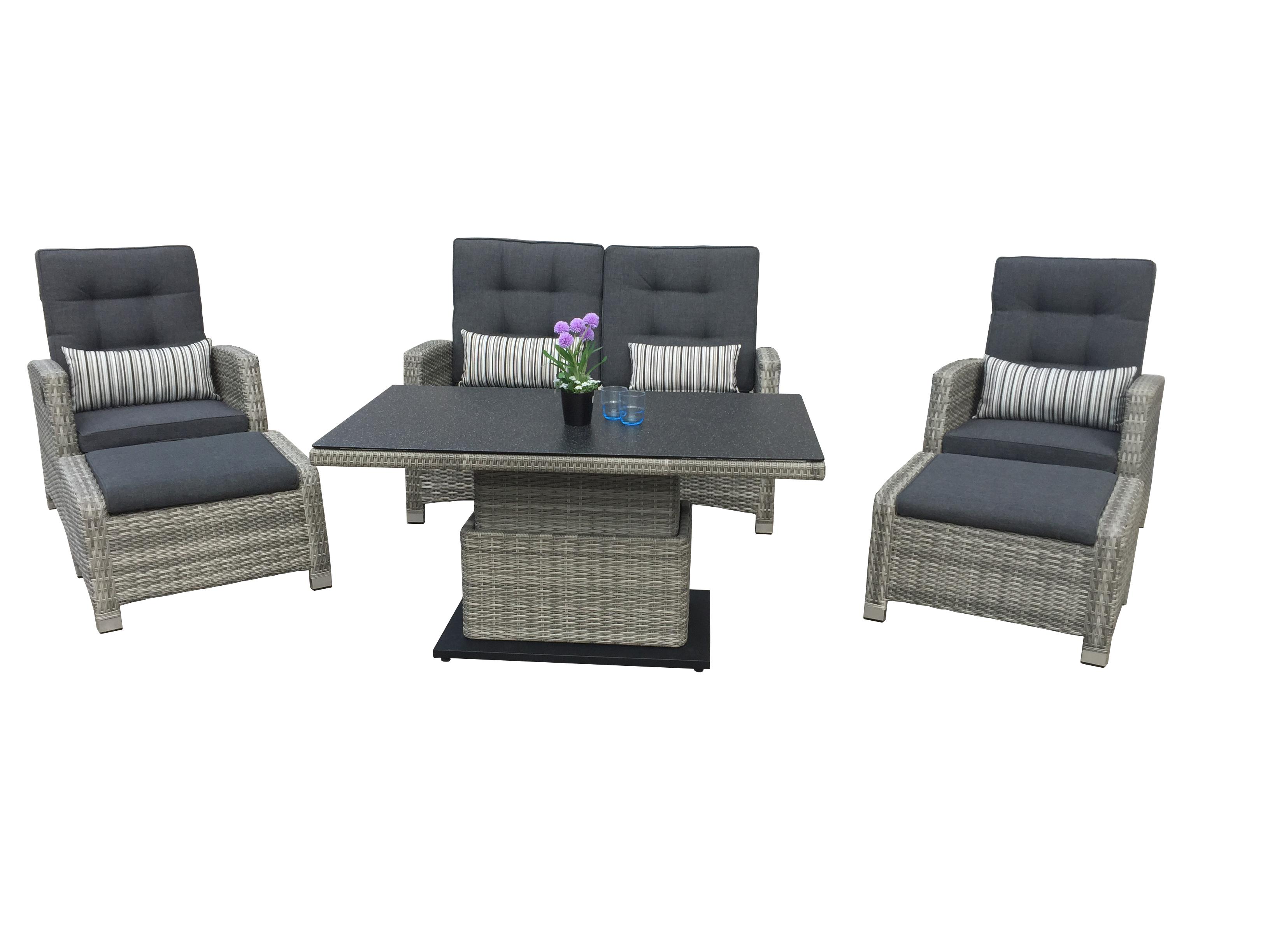 Häufig LARISSA Polyrattan Lounge Gartenmöbel Sitzgruppe - grau | Lounge QE15