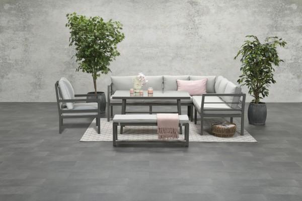 BLAKES XL Alu Ecklounge Gartenmöbel Sitzgruppe rechts braun