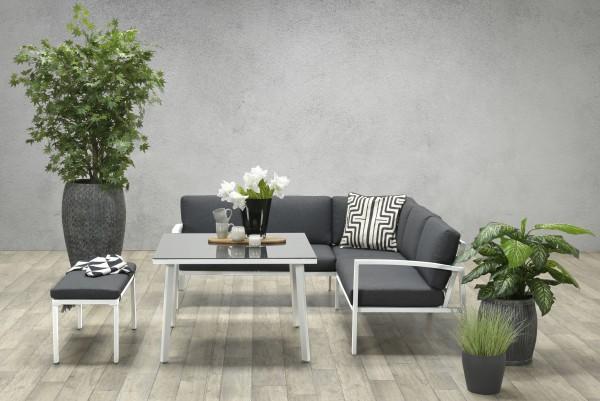 WELLINGTON Alu Ecklounge Gartenmöbel Sitzgruppe weiss