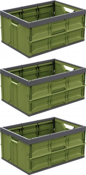 3er-Set Vollwand Klappboxen á 45 Liter mit Griff klapp-/ stapelbar