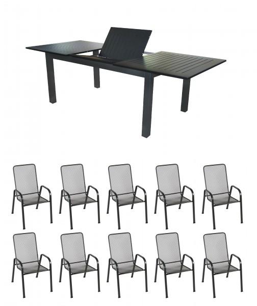 CELUK Alu Gartenmöbel Set Sitzgarnitur, 11tlg, anthrazit/schwarz