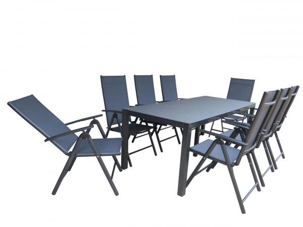 Gartenmöbel set alu 9 teilig  PISAC Alu Gartenmöbel Set Sitzgarnitur, 9-teilig, anthrazit / grau ...