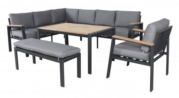 TIMBER XL Alu Ecklounge Set Holz Gartenmöbel Sitzgruppe Teak