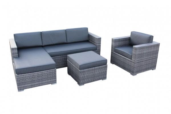 Rattan gartenmöbel grau  JAZZ Polyrattan Ecklounge Gartenmöbel Sitzgruppe grau | Lounge ...