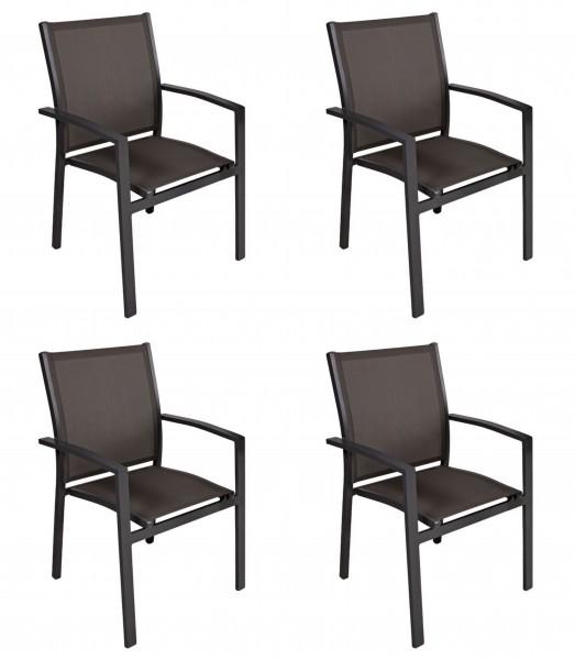ELENA Alu Stapelsessel mit Textilenbezug Sessel stapelbar grau