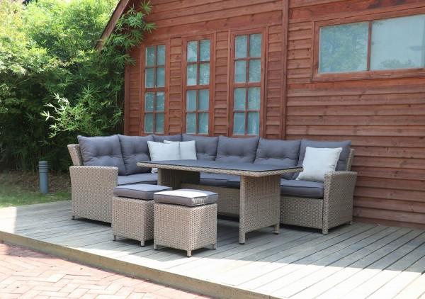 Calma Aluminium Ecklounge Gartenmöbel Set Sitzgruppe Natur