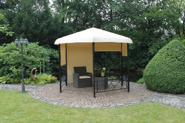 6-ECK Luxus Pavillon 350x350cm inkl. 5 Seitenrollos beige