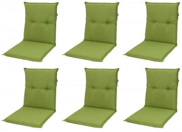 6x 7836 Niederlehner Gartenstuhl Auflage 8cm niedrig grün uni