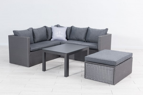 Top MORA Polyrattan Ecklounge Gartenmöbel Sitzgruppe grau | Lounge NO75