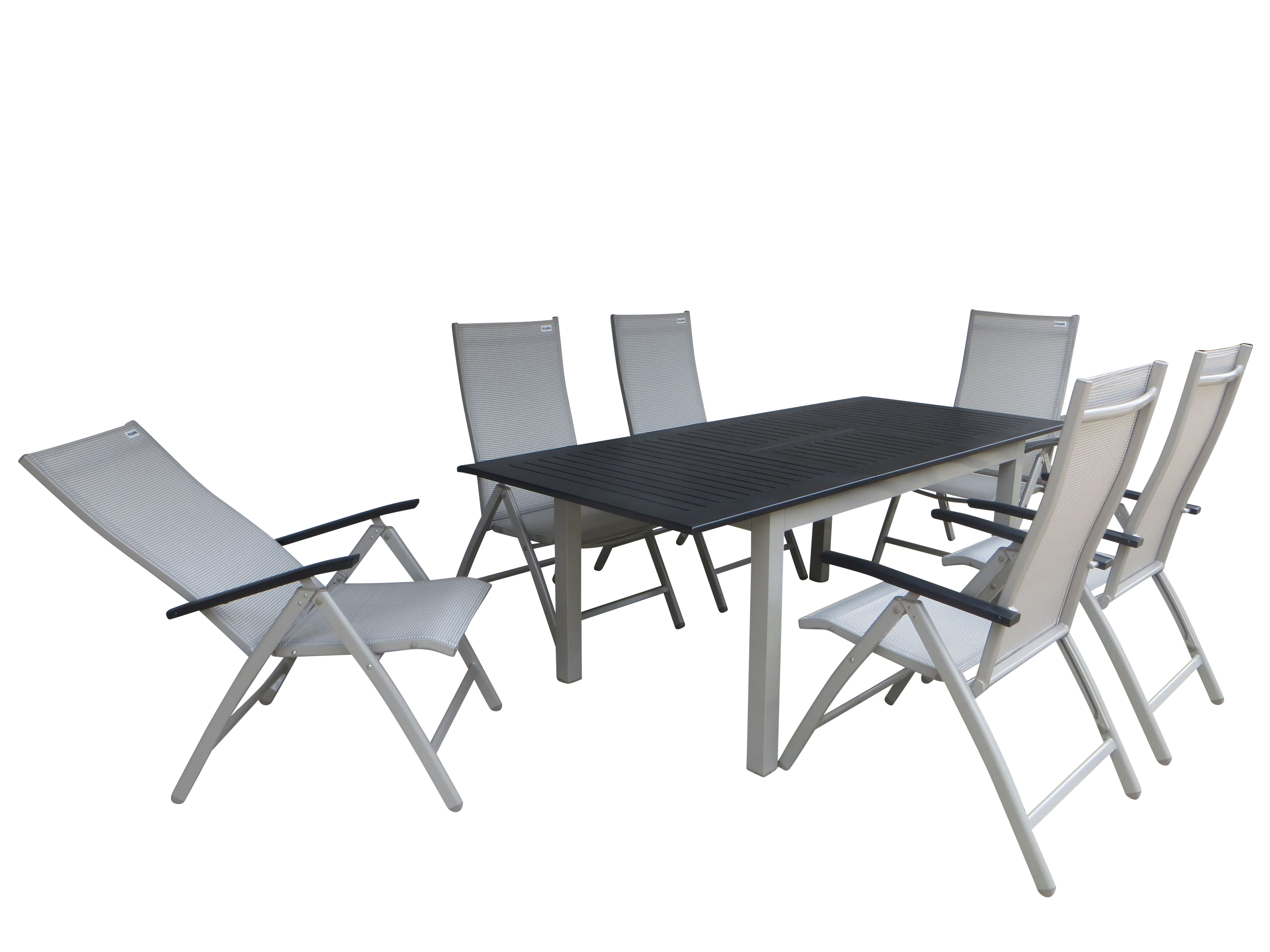 surat alu gartenm bel set sitzgarnitur 7 teilig champagner gartenm bel gruppen garten. Black Bedroom Furniture Sets. Home Design Ideas