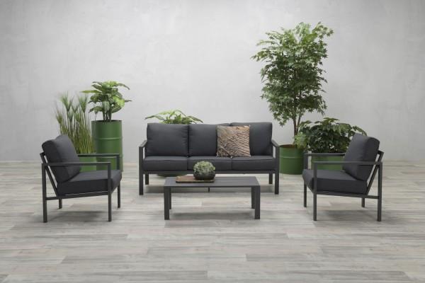 SPRINGS Aluminium Lounge Set Gartenmöbel Sitzgruppe grau