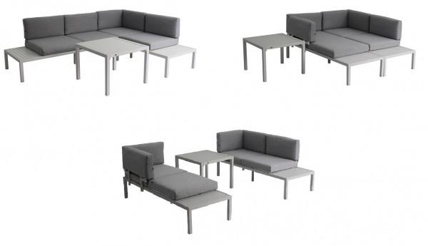 FANO 3 in 1 Aluminium Ecklounge Gartenmöbel Sitzgruppe weiß
