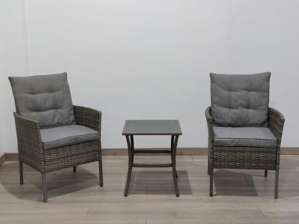 MARBELLA Polyrattan Gartenmöbel Set Lounge Balkon-Set taupe