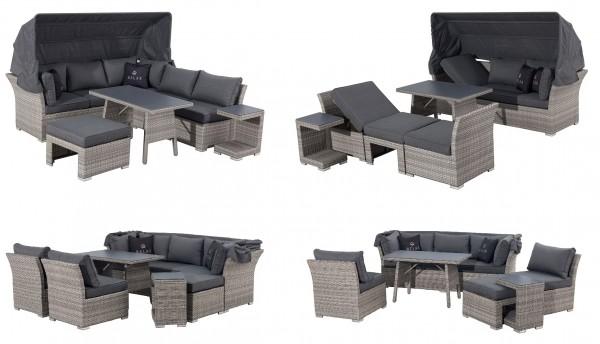 JOY Ecklounge Polyrattan Garten Lounge Set mit Dach grau