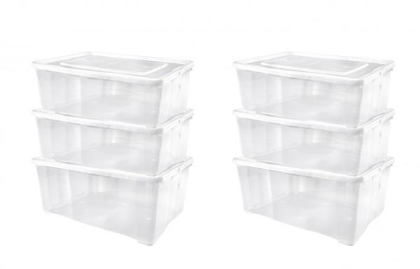 6er-Set Schuhboxen Kunststoffbox mit Deckel und Belüftung