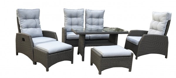 SKARA Polyrattan Lounge Gartenmöbel Sitzgruppe silverline-grau