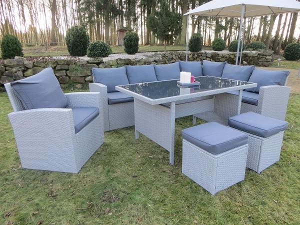 MILOS-XL NEW Polyrattan Ecklounge Gartenmöbel Sitzecke grau