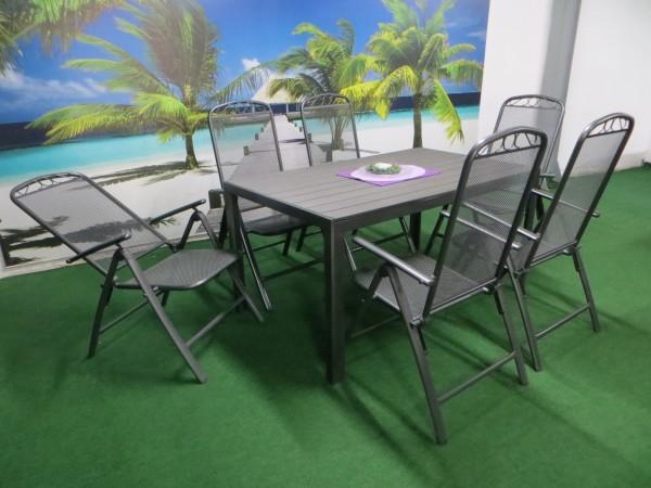 P27 Gartenmöbel Sitzgarnitur 150x90cm, 7-teilig, grau / anthrazit